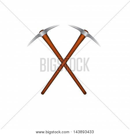 Two crossed mattocks with wooden handle on white background