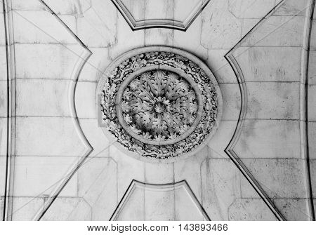 Detail of the ceiling of the Rua Augusta Arch a stone triumphal arch-like historical building and main attraction on the Praca do Comercio in Lisbon Portugal