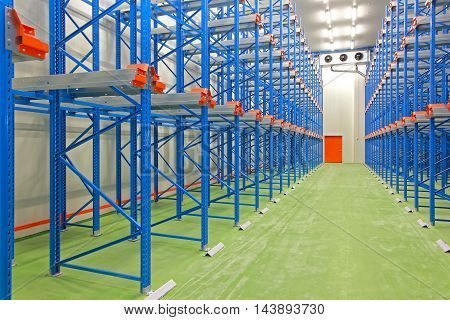 Refrigerated Cold Warehouse With New Blue Shelves