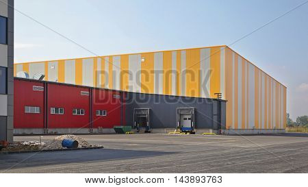 Exterior of Colorful Distribution Centre Warehouse Building