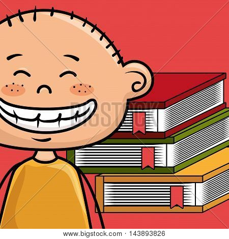 boy cartoon laptop books vector illustration design