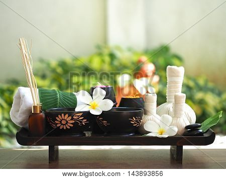 Spa massage and treatment on the wood, Thailand, select and soft focus