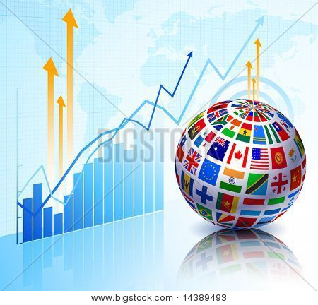 Flags Globe on Stock background Original Vector Illustration