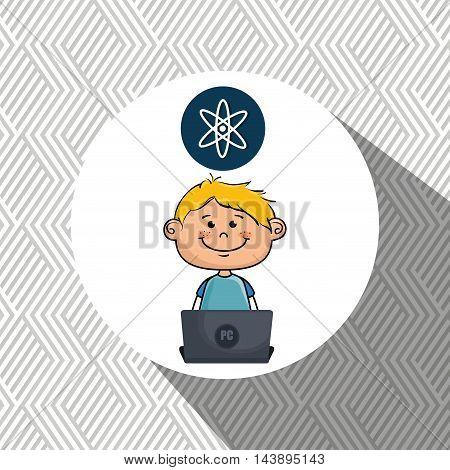 boy atom laptop idea vector illustration design