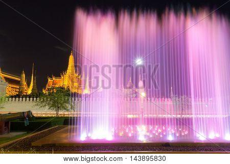 Fountain night light of landmark of Sanam Luang Bangkok Thailand