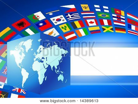 Cube Globe with World Flags Banner Original Vector Illustration