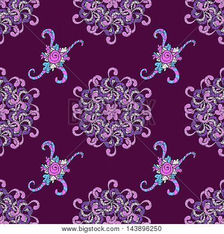 Vector boho chic flower seamless pattern. Mandala design element. Unusual flourish ornament. Blue pink lilac. Vector illustaration.