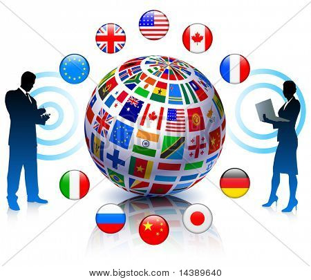 Business Team Communication with Flags Globe Original Vector Illustration