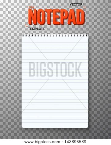 Illustration of Realistic Vector Notepad Office Equipment. White Paper Notepad Isolated on Transparent PS Style Background