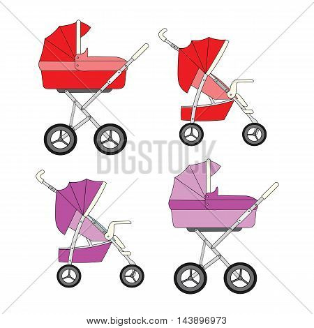 Set of red and pink modern strollers for a newborn baby girl.