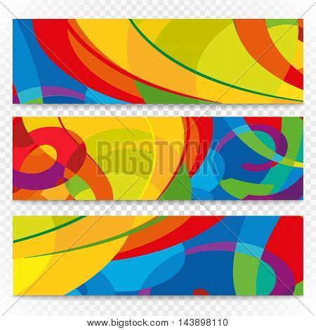Abstract colorful banners set on transparent. Modern design template for a text