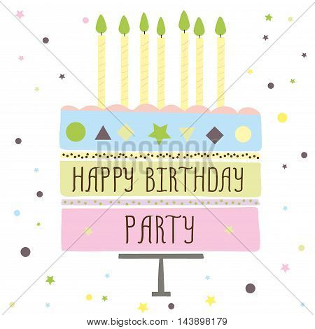 cute happy birthday party card with cake and candles. vector illustration