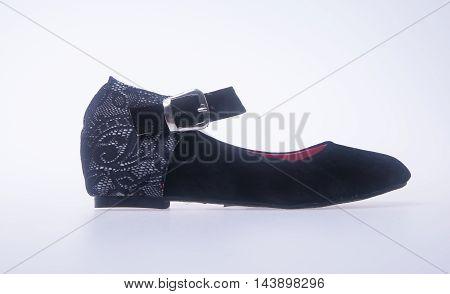 Shoe. Black Colour Fashion Woman Shoes On A Background.