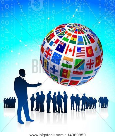 Business Team with Flags Globe Original Vector Illustration