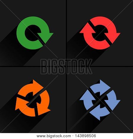 4 color arrow loop refresh reload rotation icon. Volume 04. Flat icon with black long shadow on gray background. Simple solid plain minimal style. Vector illustration web design elements 8 eps