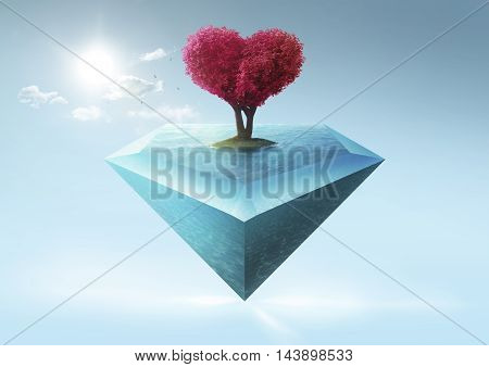 Love shape tree and diamond shape island .