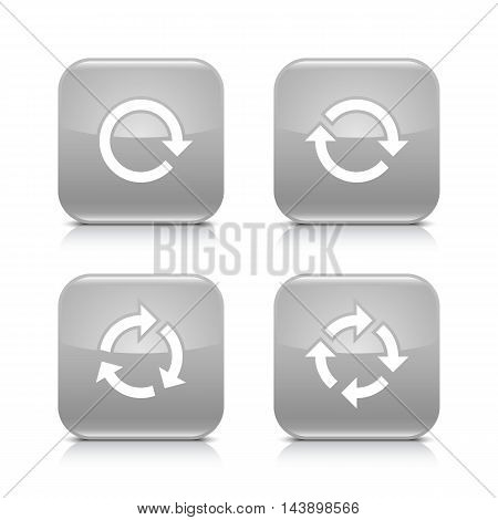 4 arrow icon. White repeat reload rotation refresh sign. Set 02. Gray rounded square button with gray reflection black shadow on white background. Vector illustration web design element in 8 eps