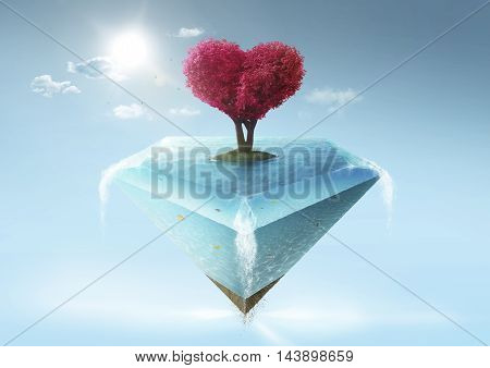 Love shape tree and diamond shape island .
