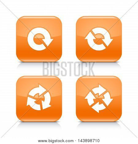 4 arrow icon. White refresh reload rotation repeat sign. Set 04. Orange rounded square button with gray reflection black shadow on white background. Vector illustration web design element in 8 eps