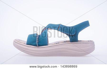 Shoe. Blue Colour Fashion Woman Shoes On A Background.
