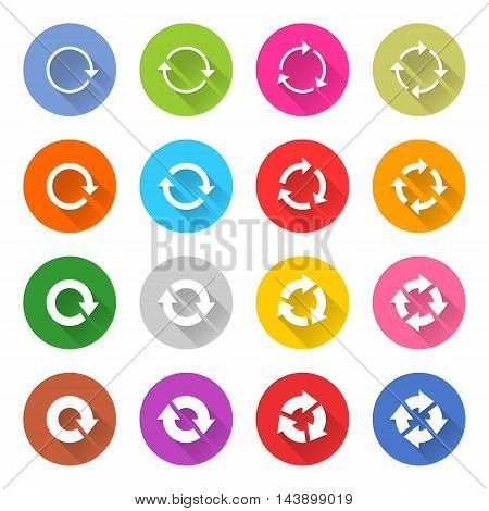 16 arrow icon set 04 white sign on color. Web internet button on white background. Simple minimalistic mono flat long shadow style. Vector illustration internet design graphic element 10 eps