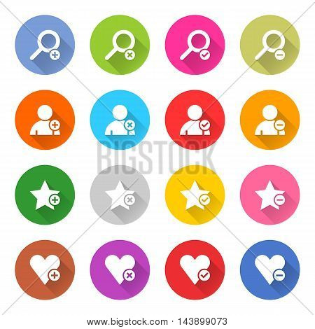 16 addition icon set 07 white sign on color . Web button on white background. Simple minimalistic mono flat long shadow style. Vector illustration internet design graphic element 10 eps