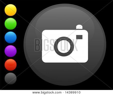 camera icon on round internet button original vector illustration 6 color versions included