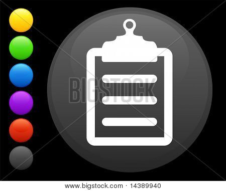 clipboard icon on round internet button original vector illustration 6 color versions included