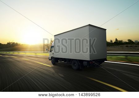 Transport small truck on the road .
