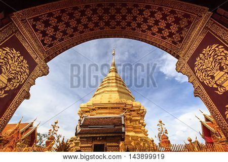 Doi Suthep Pagoda in the early afternoon. Chiang Mai Thailand