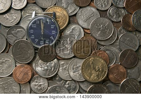 old watches in placers American coins of various face values