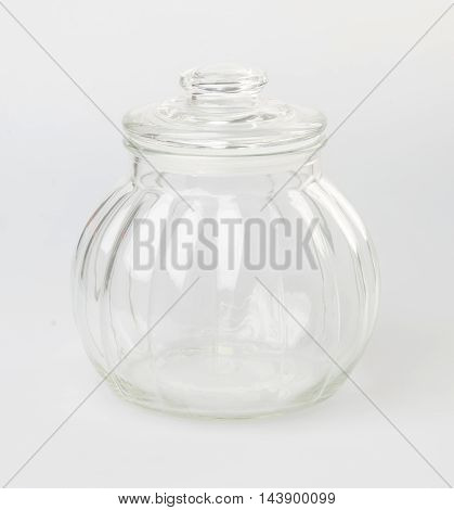 Glass Bottle Or Candy Jar On A Background.