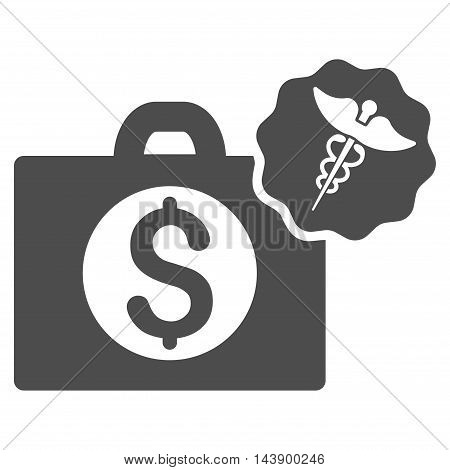 Medical Business icon. Vector style is flat iconic symbol with rounded angles, gray color, white background.
