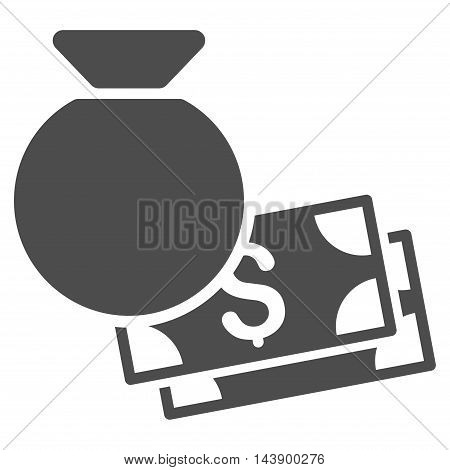 Money Bag icon. Vector style is flat iconic symbol with rounded angles, gray color, white background.