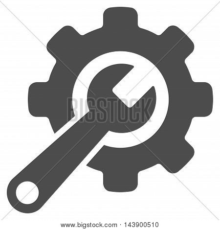 Tools icon. Vector style is flat iconic symbol with rounded angles, gray color, white background.