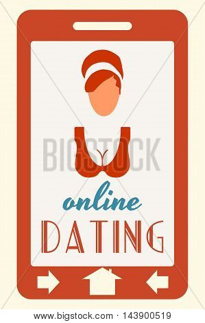 Abstract messenger screen. Online dating text. Vintage woman silhouette. Mobile app