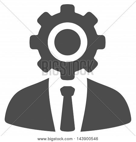 Worker icon. Vector style is flat iconic symbol with rounded angles, gray color, white background.