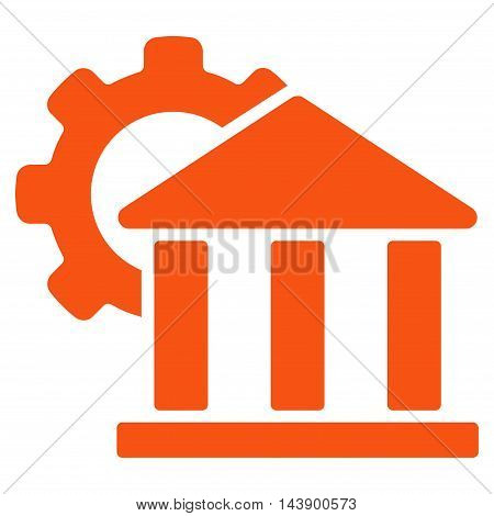 Bank Settings icon. Vector style is flat iconic symbol with rounded angles, orange color, white background.