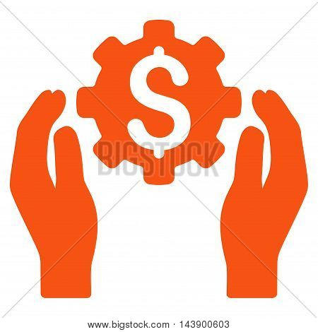 Banking Maintenance Hands icon. Vector style is flat iconic symbol with rounded angles, orange color, white background.