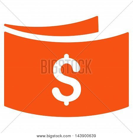 Banknotes icon. Vector style is flat iconic symbol with rounded angles, orange color, white background.