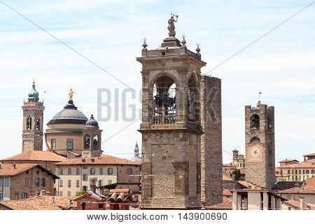 Bell Towers In Upper City Citta Alta In Bergamo, Italy