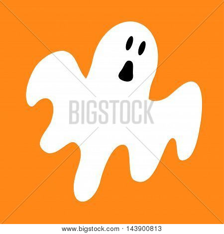 Funny flying ghost. Greeting card. Cute cartoon character. Scary spirit. Baby collection. Orange background. Flat design. Vector illustration
