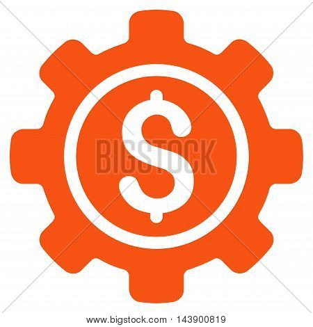 Financial Tools icon. Vector style is flat iconic symbol with rounded angles, orange color, white background.