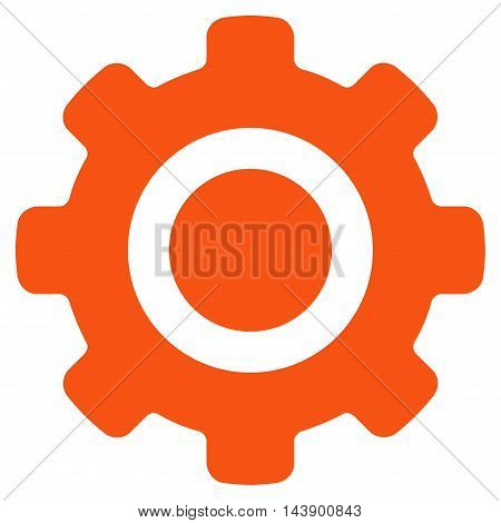 Gear icon. Vector style is flat iconic symbol with rounded angles, orange color, white background.