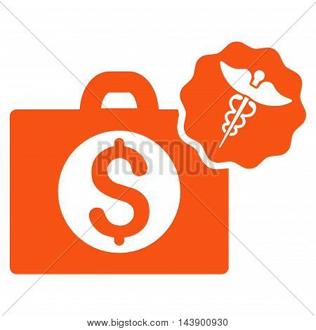 Medical Business icon. Vector style is flat iconic symbol with rounded angles, orange color, white background.