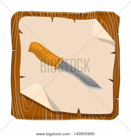 Knife for hunting cartoon icon. Vector illustration in cartoon style