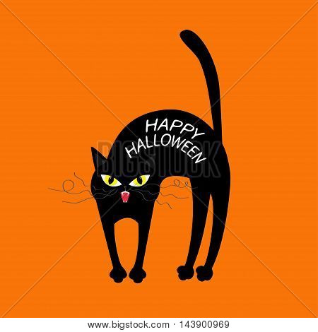 Cat arch back. Happy Halloween greeting card. Yellow eyes fangs curl moustaches whisker. Funny cartoon character. Isolated. Orange background. Flat design. Vector illustration