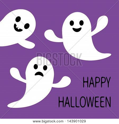 Funny flying ghost. Smiling and sad face with tooth. Happy Halloween. Greeting card. Cute cartoon character. Scary spirit. Baby collection. Violet background. Flat design. Vector illustration