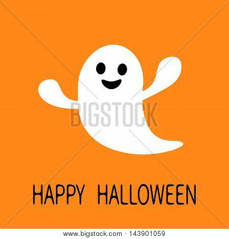 Funny flying ghost. Smiling face. Happy Halloween. Greeting card. Cute cartoon character. Scary spirit. Baby collection. Orange background. Flat design. Vector illustration