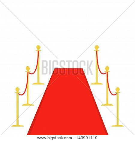 Red carpet and rope barrier golden stanchions turnstile Isolated template White background. Flat design Vector illustration